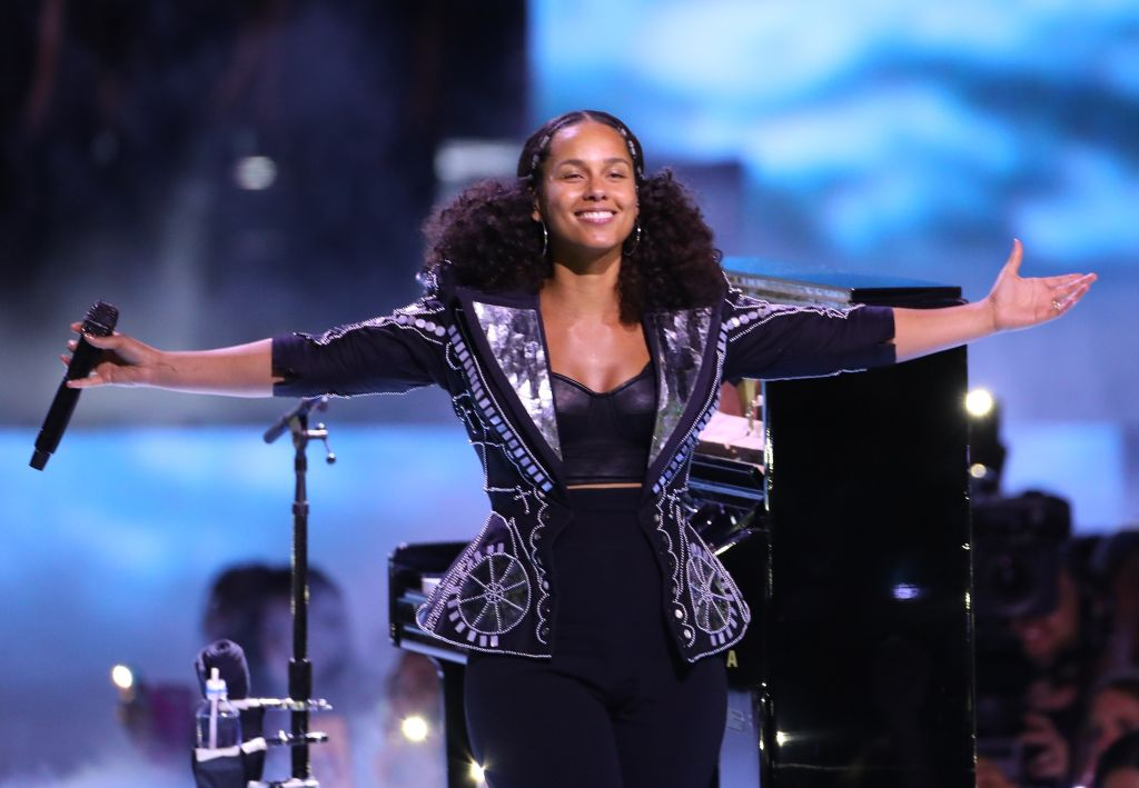 Alicia Keys is seen on stage during the We Day California 2017 on April 27, 2017 in Inglewood, California