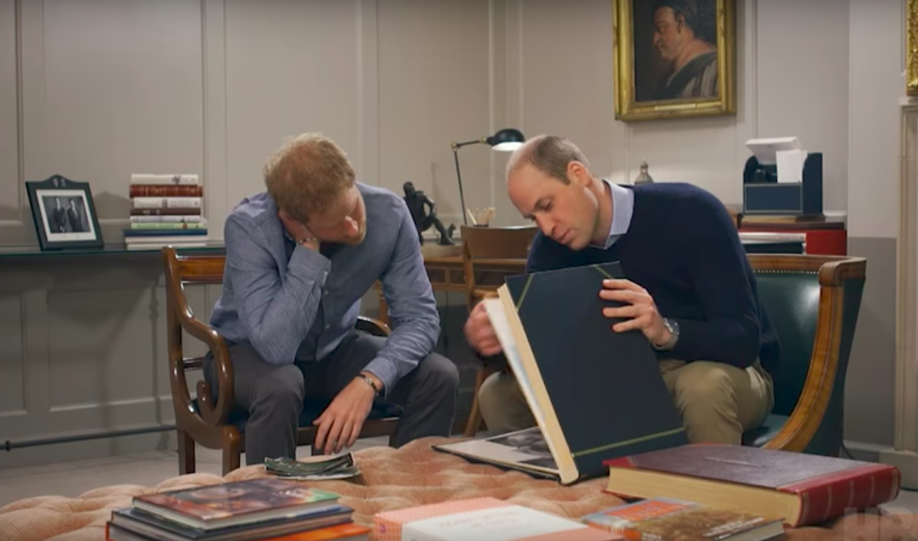 Screenshot of william and harry in a new HBO documentary about their mother.