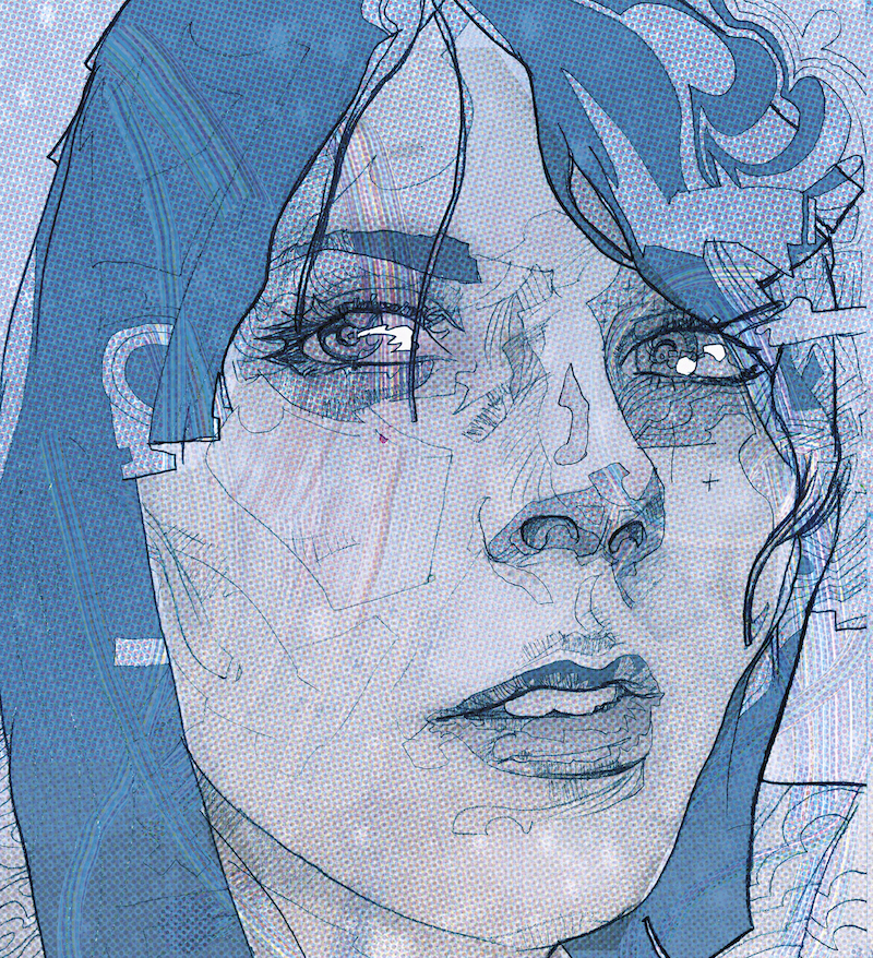 Blue woman illustrated