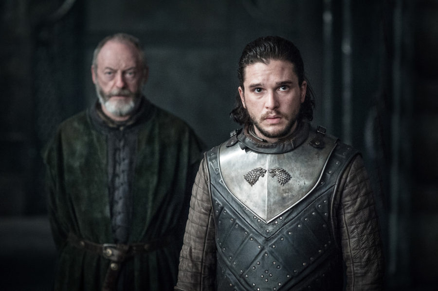 Kit Harington as Jon Snow and Liam Cunningham as Ser Davos on Game of Thrones.