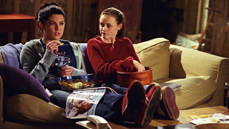 Gilmore Girls on couch.