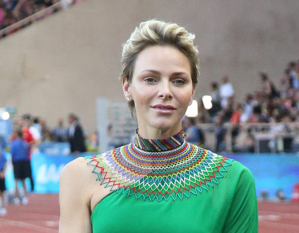 Princess Charlene of Monaco participates at the medals ceremony during the IAAF Diamond League Meeting Herculis 2017