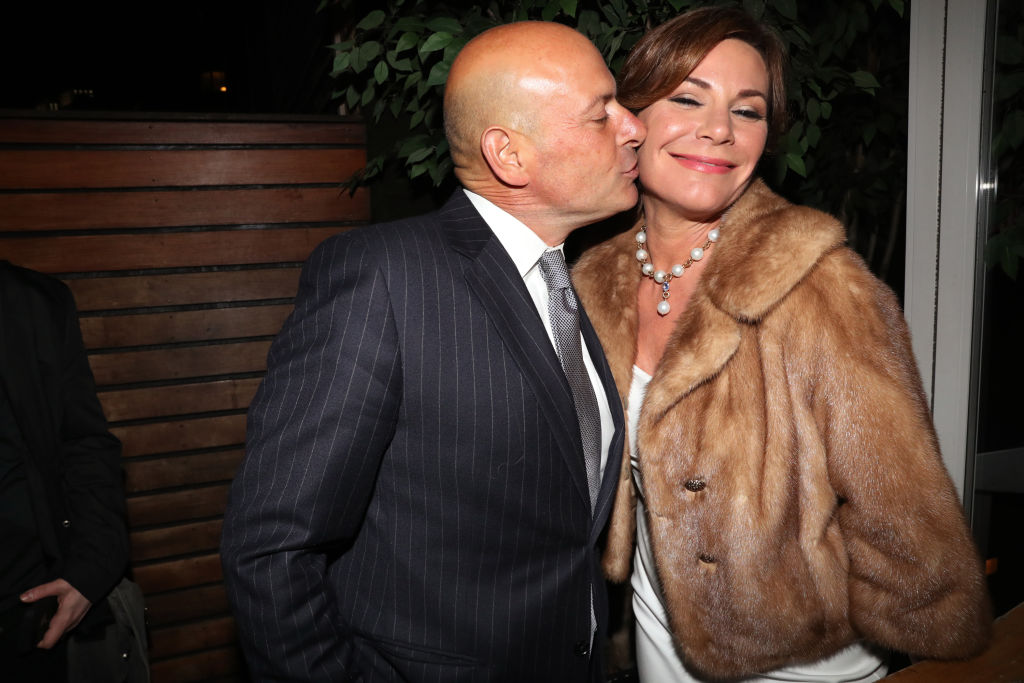 """NEW YORK, NY - APRIL 05: Tom DAgostino Jr. (L) and Luann de Lesseps attend """"The Real Housewives Of New York City"""" Season 9 Premiere Party at The Attic Rooftop Lounge on April 5, 2017 in New York City. (Photo by Johnny Nunez/WireImage)"""