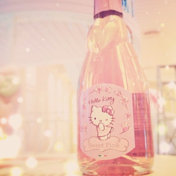 A bottle of Hello Kitty rose wine