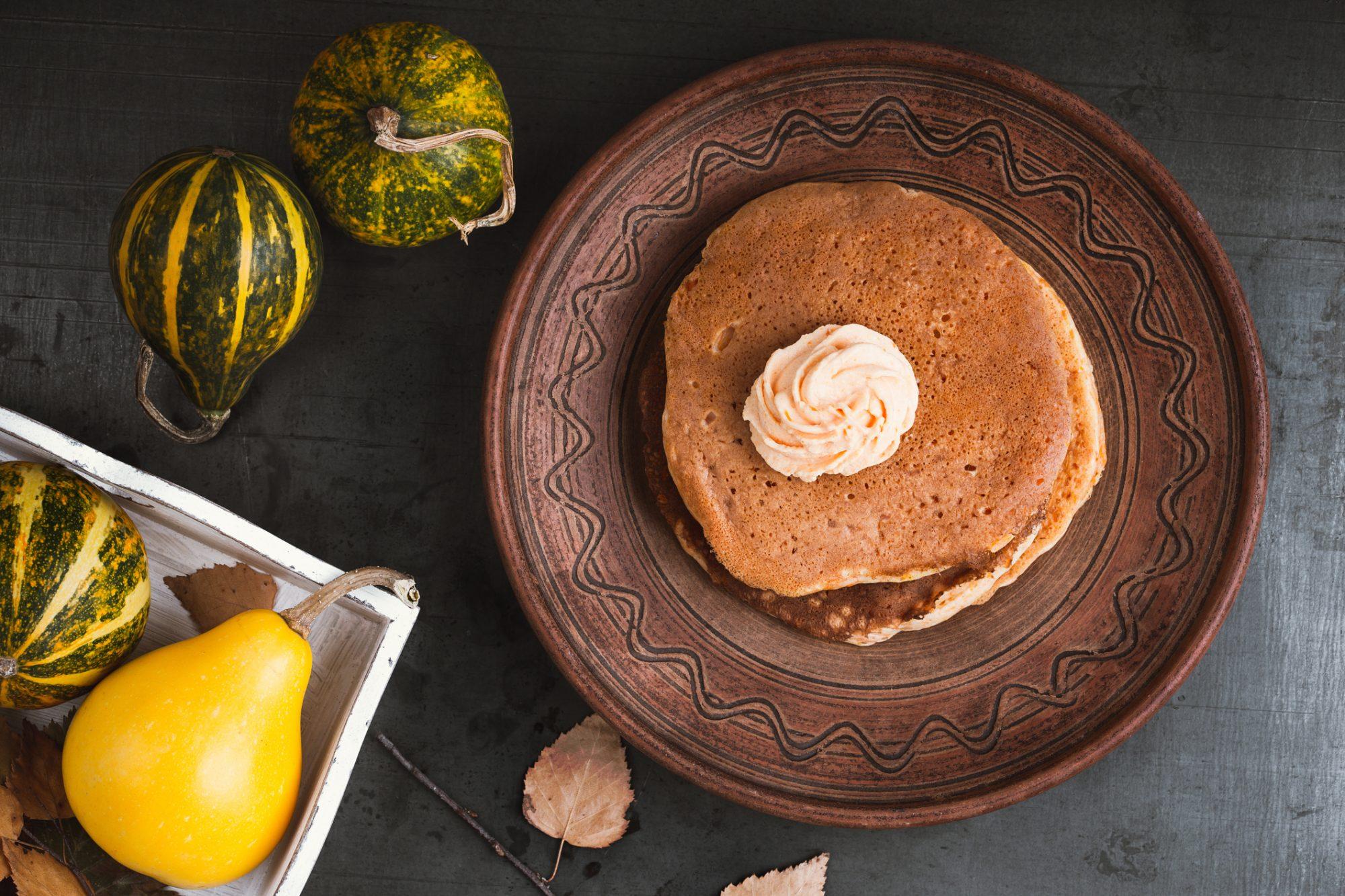 Thanksgiving brunch pumpkin pancakes