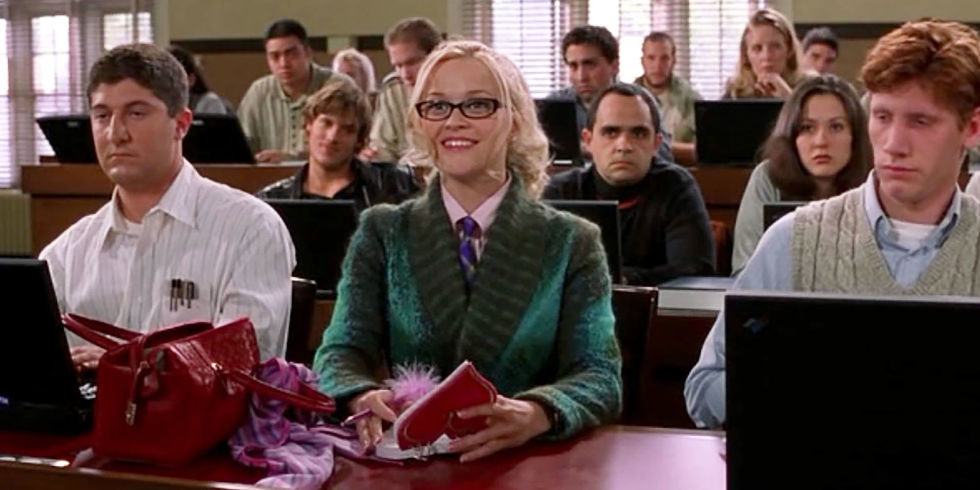 Elle Woods first day of law school outfit.