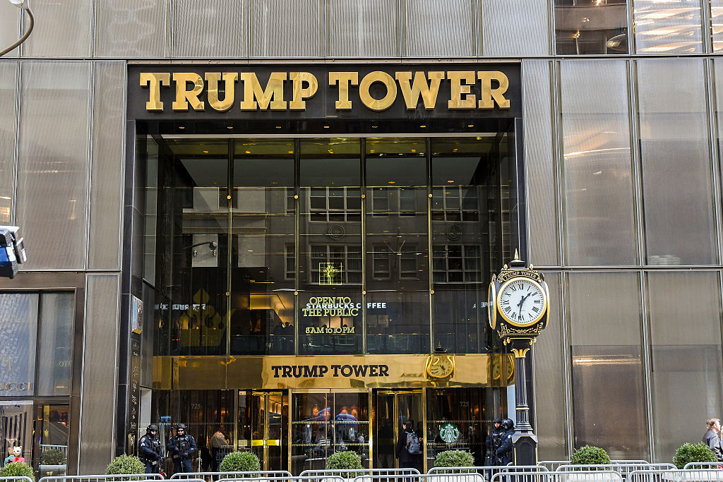 Exterior view of the entrance to Trump Tower (at 721 Fifth Avenue), New York, New York, January 10, 2017. (Photo by Mark Reinstein/Corbis via Getty Images)