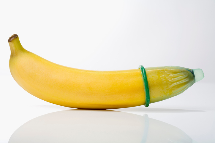 Condom on banana, close-up