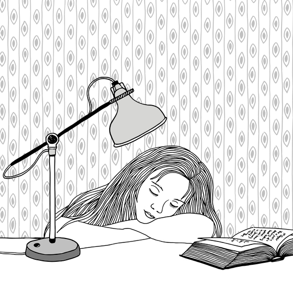 Student illustrated asleep at desk