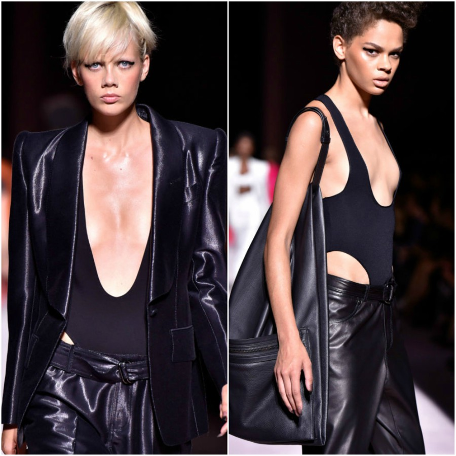Collage of two bodysuits at tom ford show
