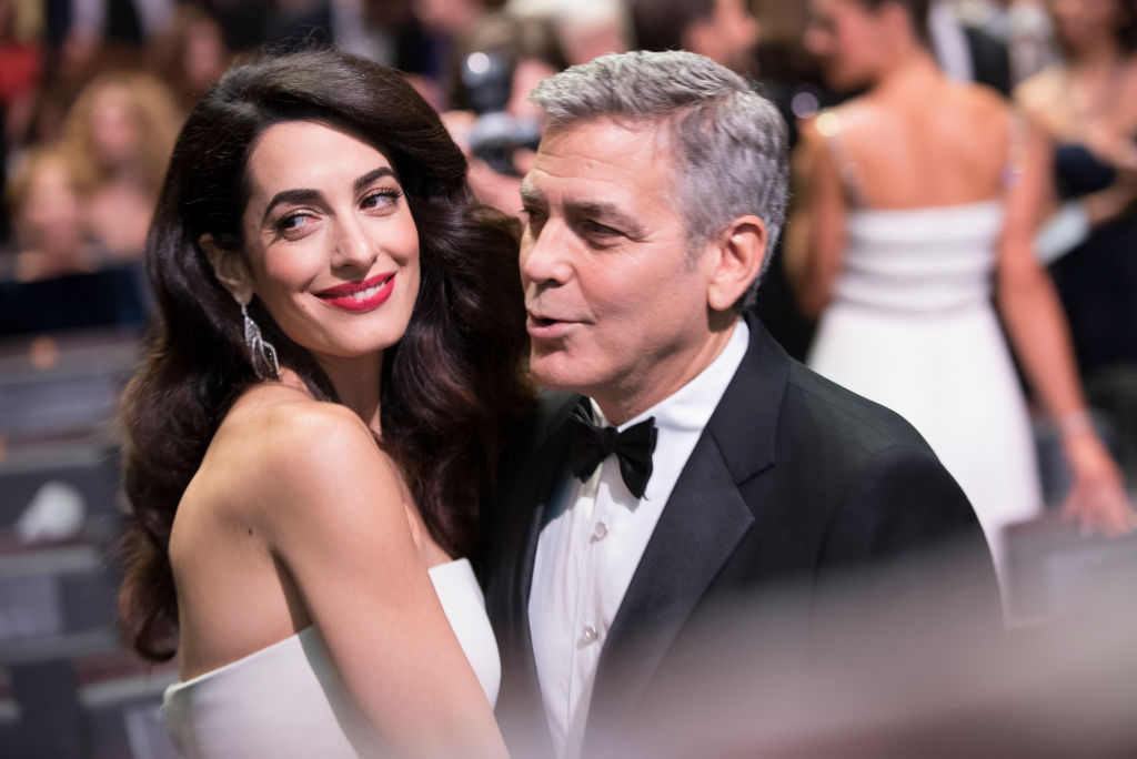 Amal Clooney and George Clooney prior to the Cesar Film Awards Ceremony at Salle Pleyel on February 24, 2017 in Paris, France