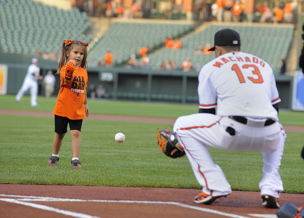 Hailey Dawson throwing out the first pitch at a baseball game