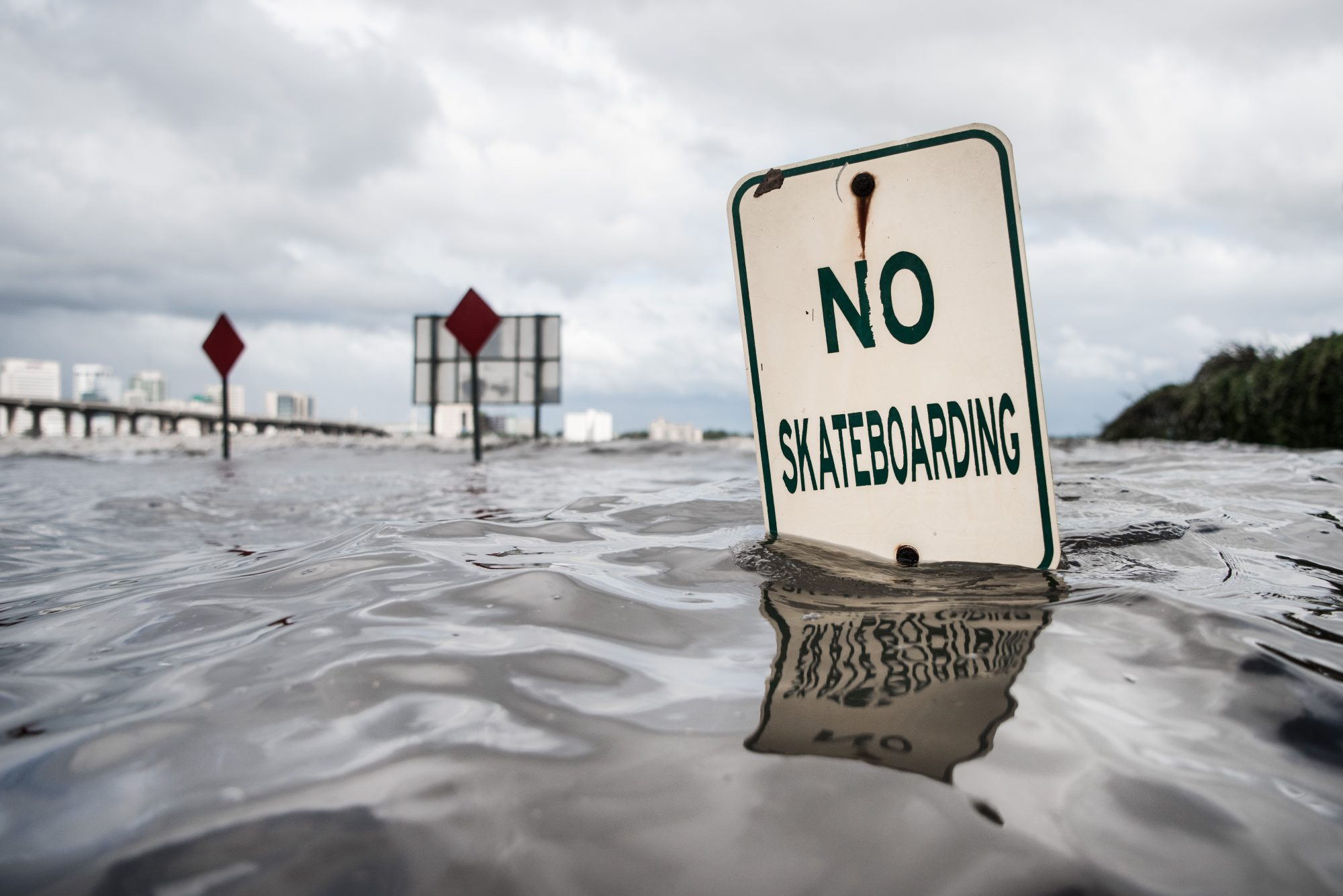 JACKSONVILLE, FL - SEPTEMBER 11: The St. Johns River rises from storm surge flood waters from Hurricane Irma on Sept. 11, 2017 in Jacksonville, Florida. Flooding in downtown Jacksonville along the river topped a record set during Hurricane Dora in 1965. (Photo by Sean Rayford/Getty Images)