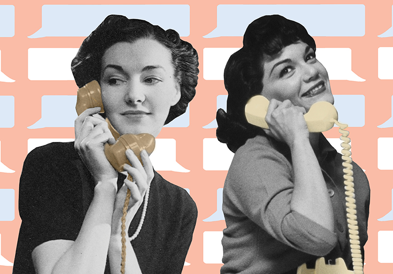 Two women on the phone.