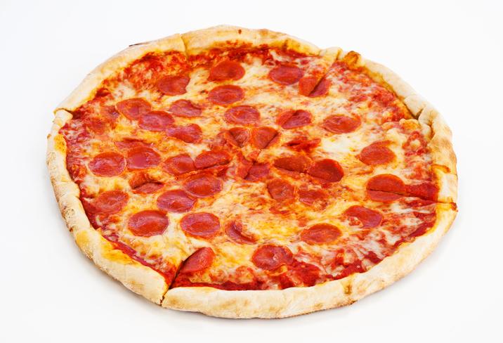 Studio shot of pepperoni pizza