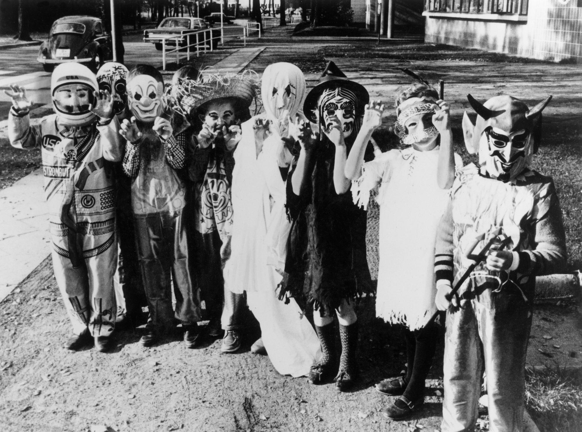 Vintage photo of kids dressed in Halloween costumes