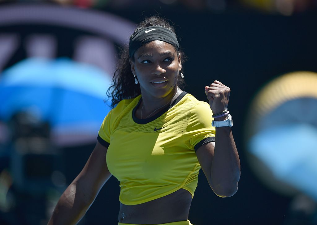 Serena Williams of the US celebrates after victory in her women's singles match against Taiwan's Hsieh Su-Wei on day three of the 2016 Australian Open tennis tournament in Melbourne on January 20, 2016. AFP PHOTO / PETER PARKS-- IMAGE RESTRICTED TO EDITORIAL USE - STRICTLY NO COMMERCIAL USE / AFP / PETER PARKS