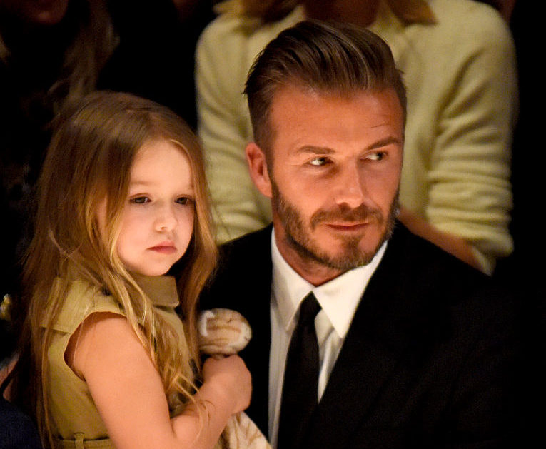 "David and Harper Beckham attends the Burberry ""London in Los Angeles"" event at Griffith Observatory on April 16, 2015 in Los Angeles, California."