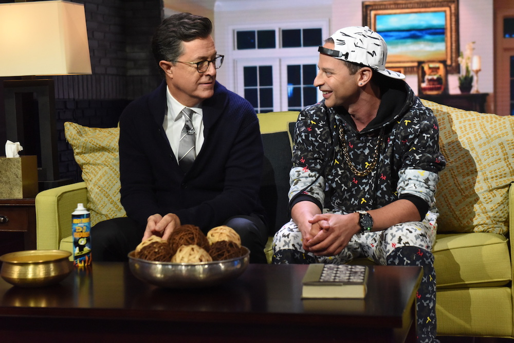 Nick Kroll and Stephen Colbert