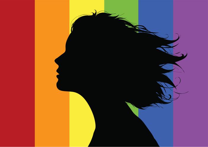 LGBT flag, silhouette