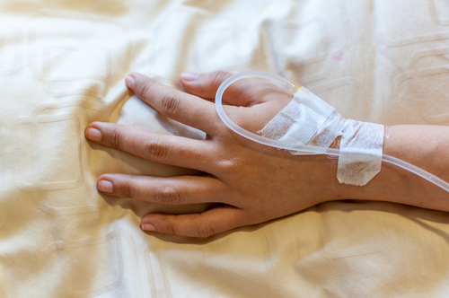 hand with IV