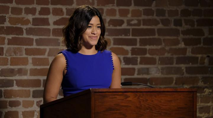 Gina Rodriguez in blue dress on Jane the Virgin