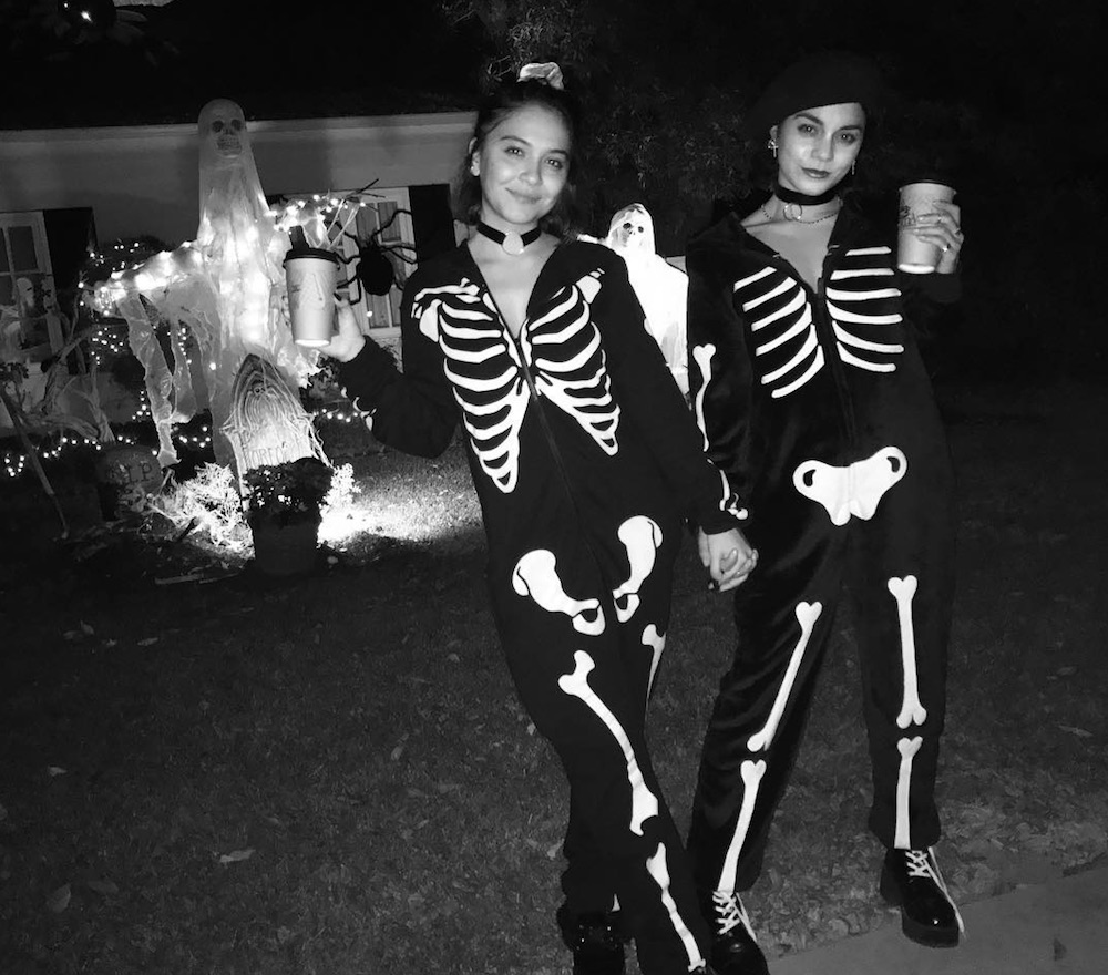Vanessa Hudgens wore a skeleton onesie, and you can get the exact same one at PrettyLittleThing | HelloGiggles