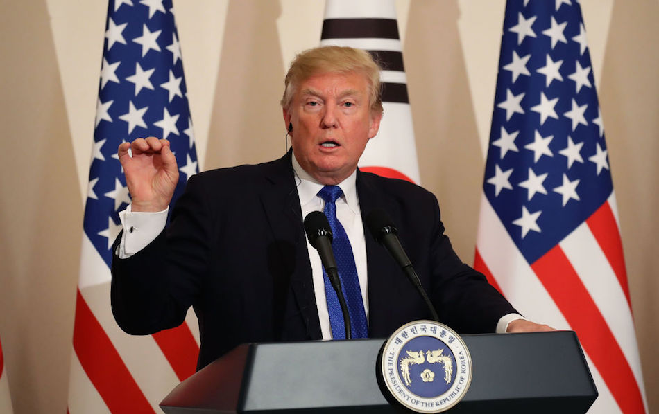 President Donald Trump attends the joint press conference on November 7, 2017 in Seoul, South Korea