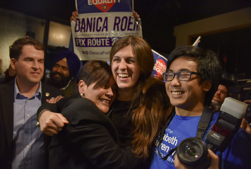 Danica Roem is greeted by supporters as she prepares to give her victory speech