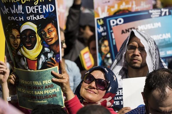 muslim woman protesting