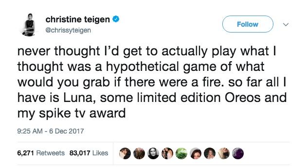 Chrissy Teigen fire