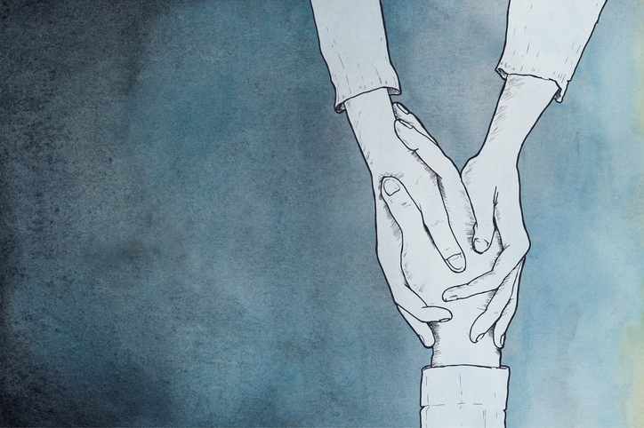 hands holding, illustrated
