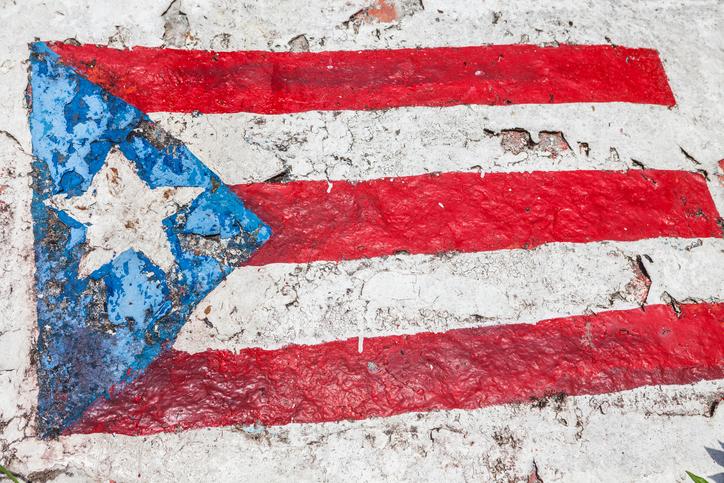 Puerto Rico flag painted on flag