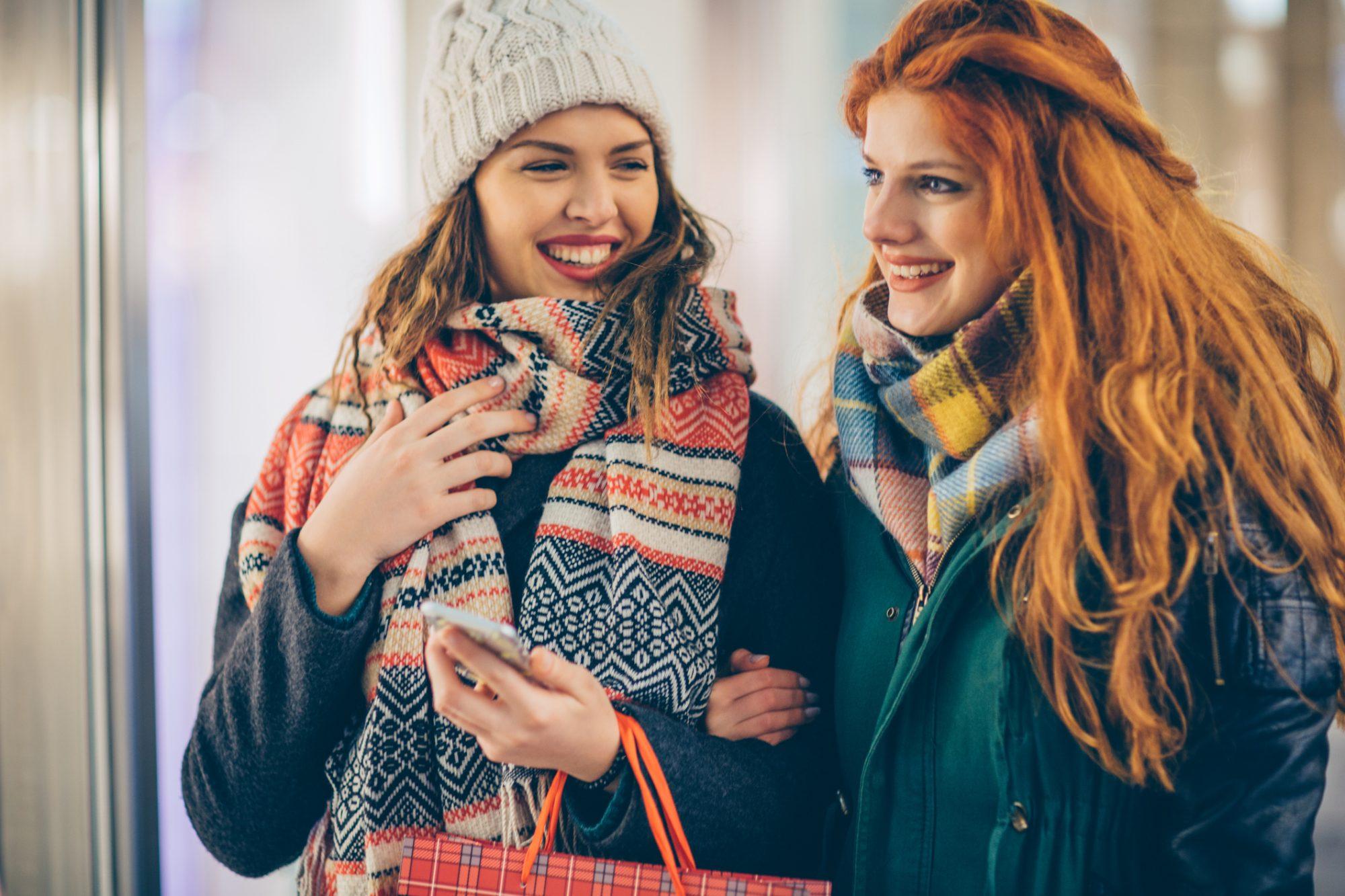 women shopping winter
