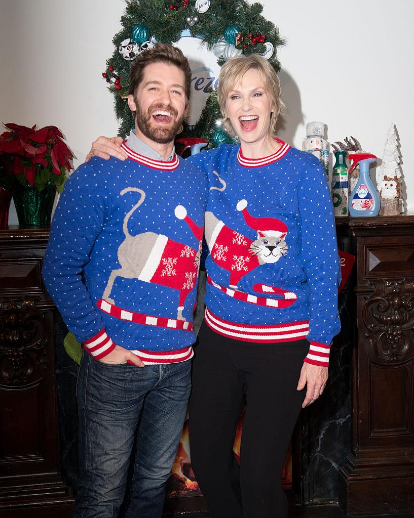 Matthew Morrison and Jane Lynch Christmas sweaters