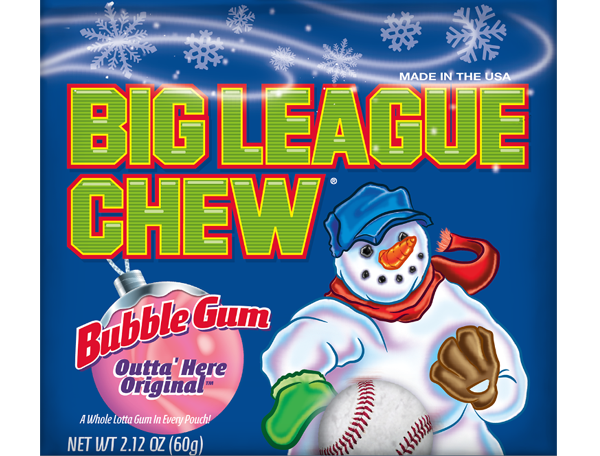 Christmas package of Big League Chew with a Snowman on the front