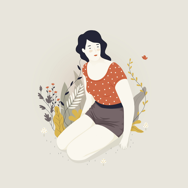 Illustration of happy woman by herself