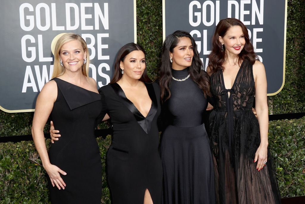 BEVERLY HILLS, CA - JANUARY 07: Reese Witherspoon, Eva Longoria, Salma Hayek and Ashley Judd attend The 75th Annual Golden Globe Awards at The Beverly Hilton Hotel on January 7, 2018 in Beverly Hills, California. (Photo by Frederick M. Brown/Getty Images)
