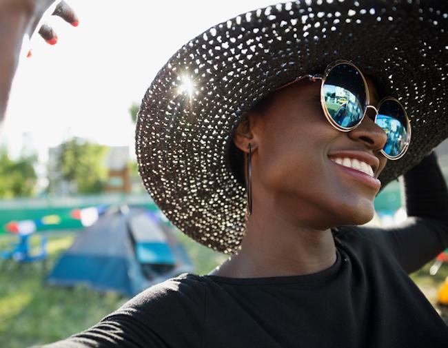 Woman at a summer festiva