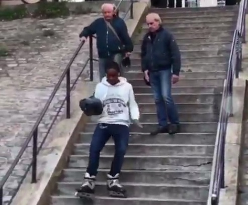 Picture of Man Rollerblading Steps