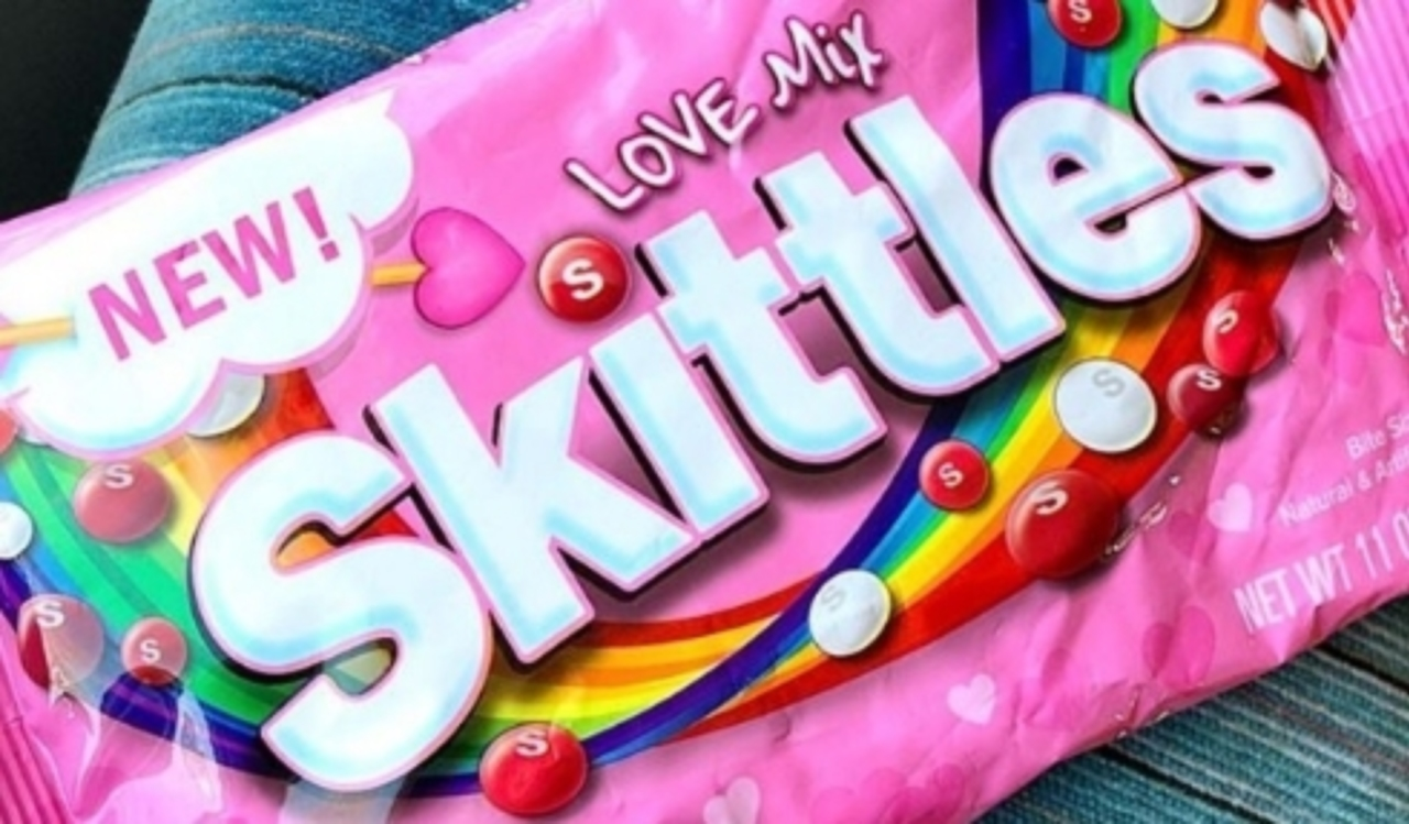 Photo of a Skittles Bag With a Valentine's Day Love Mix