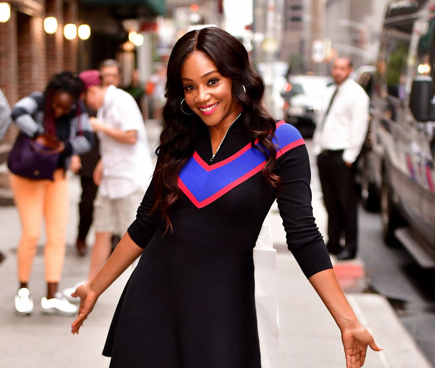 Tiffany Haddish leaves the 'The Late Show With Stephen Colbert' at the Ed Sullivan Theater on August 15, 2017 in New York City