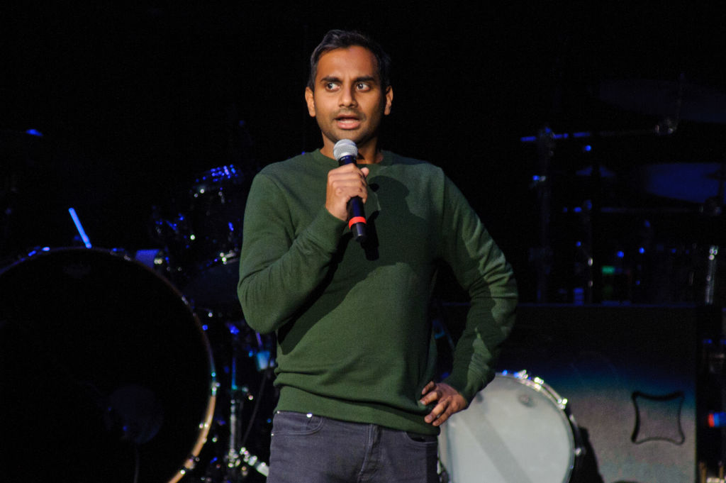CHICAGO, IL - NOVEMBER 01: Aziz Ansari speaks at the Obama Foundation Community Event on November 1, 2017 in Chicago, Illinois. (Photo by Timothy Hiatt/Getty Images)