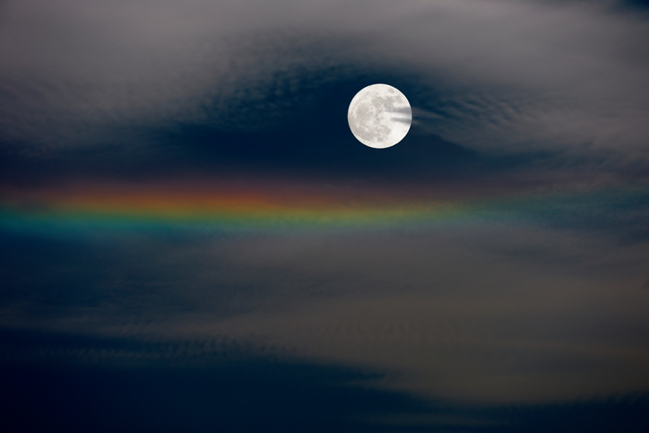 Full moon and iridescent clouds with copy space.