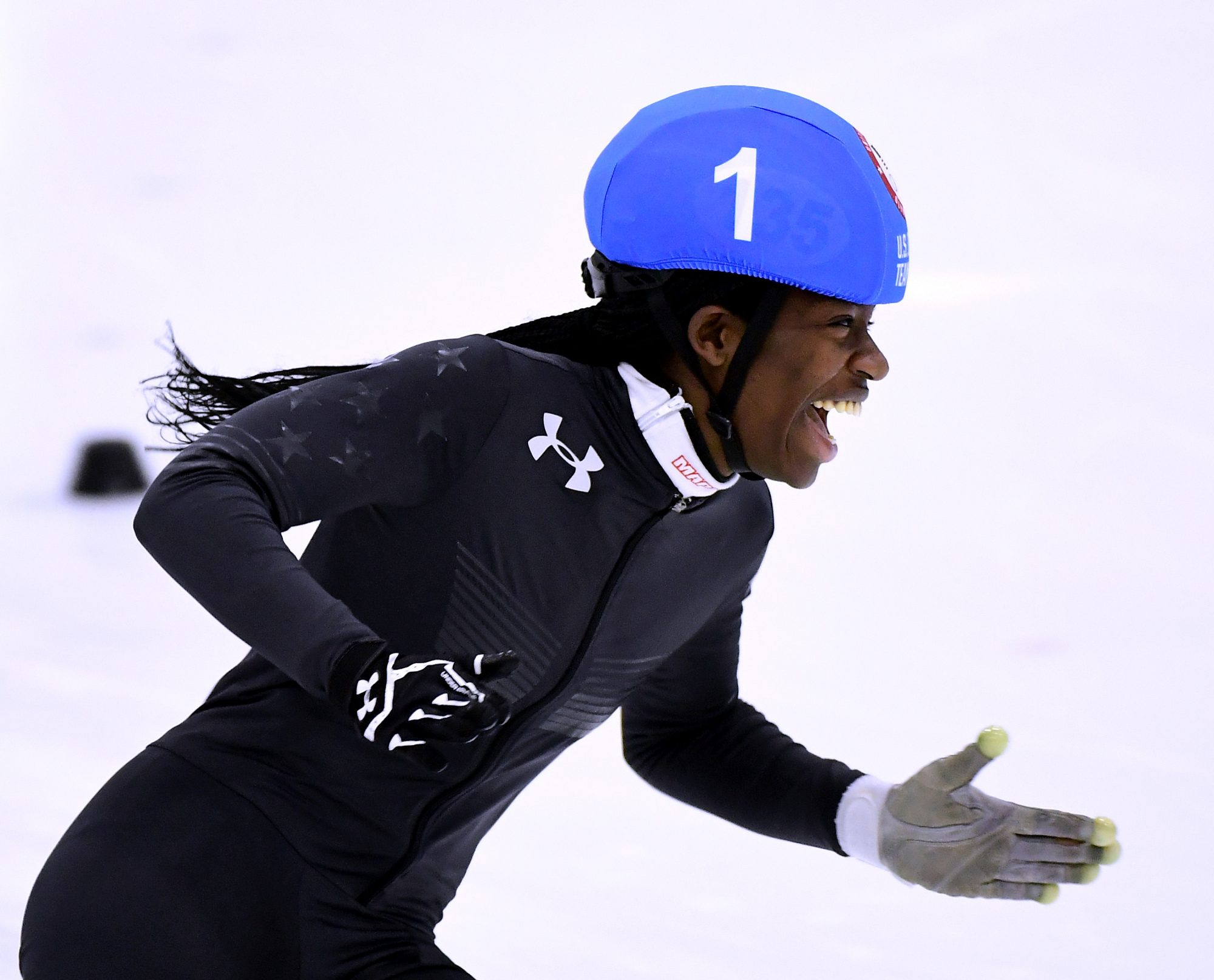 Photo of Maame Biney at the 2018 U.S. Speedskating Short Track Olympic Team Trials