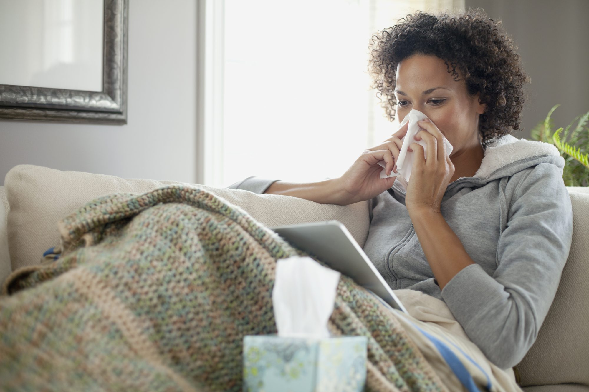 Photo of Woman With the Flu at Home