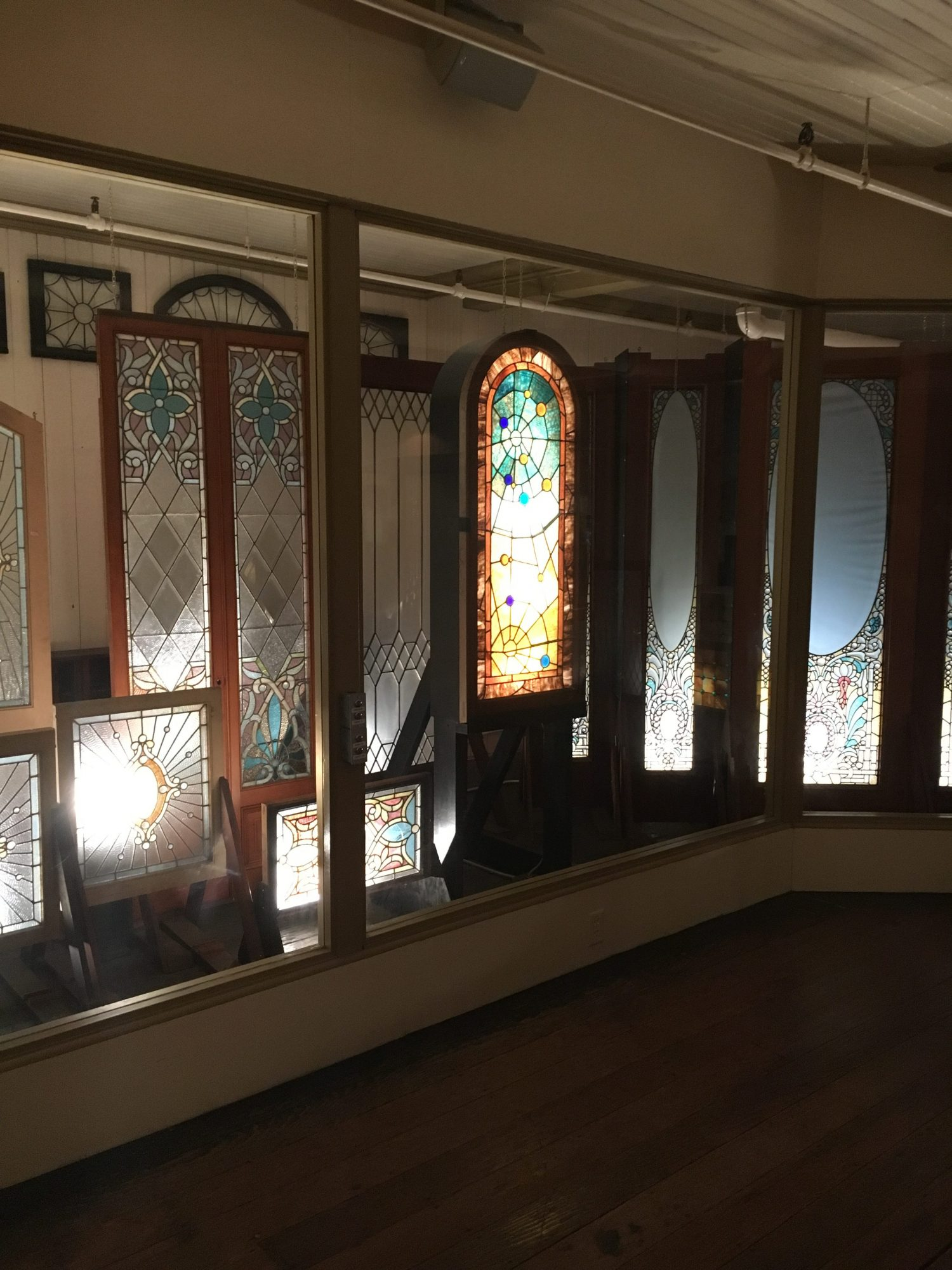 Some of Mrs. Winchester's leftover leaded glass collection.