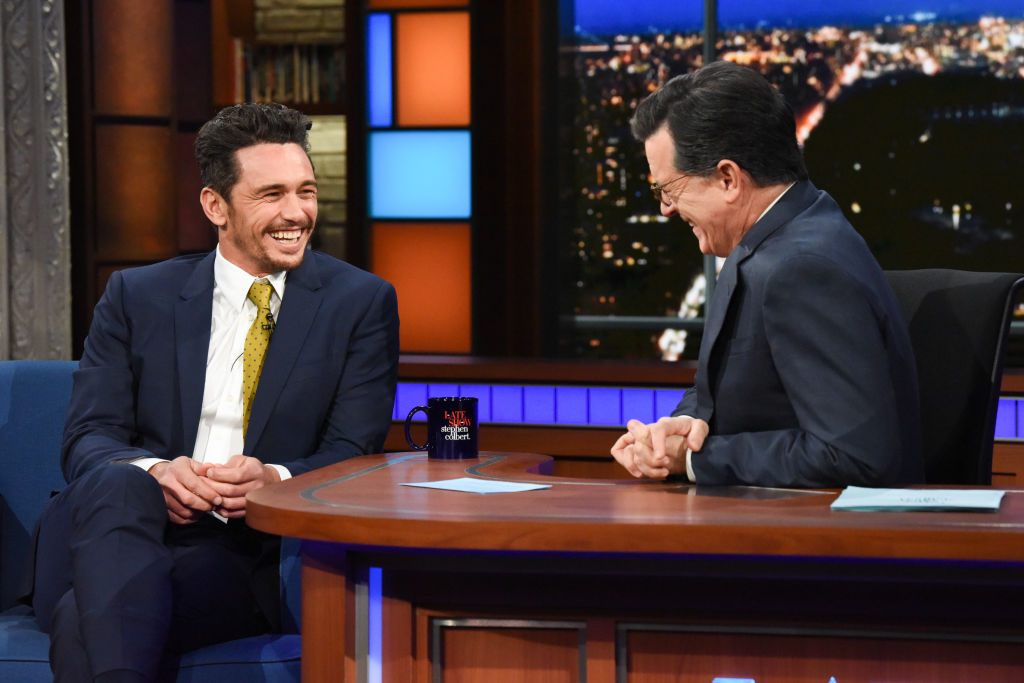 NEW YORK - JANUARY 9: The Late Show with Stephen Colbert with guest James Franco during Tuesday's January 9, 2018 show. (Photo by Scott Kowalchyk/CBS via Getty Images)