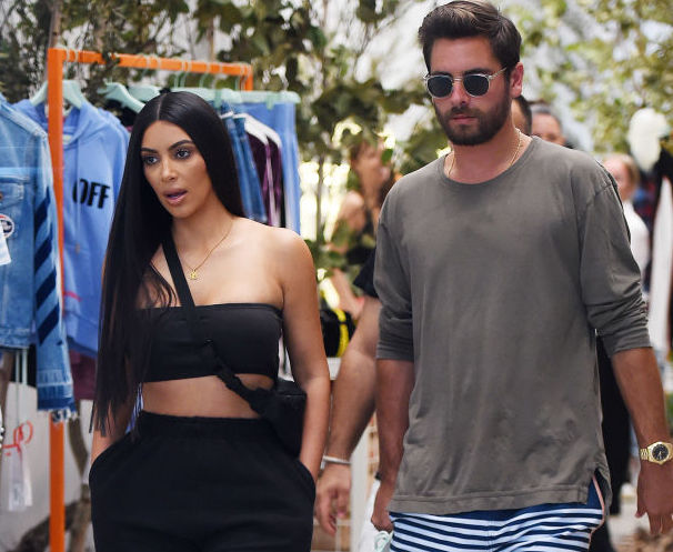 NEW YORK - AUGUST 02: Kim Kardashian and Scott Disick get lunch at Cipriani and shop at 'Off White' new store in Soho on August 02, 2017 in New York, New York.