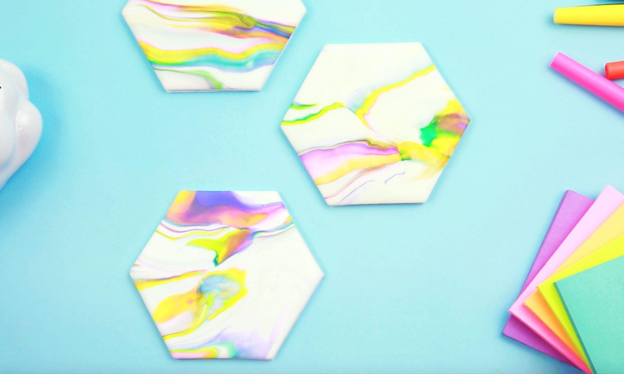 DIY Rainbow Marble Coasters